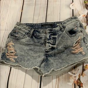 Black heart light denim jean distressed shorts